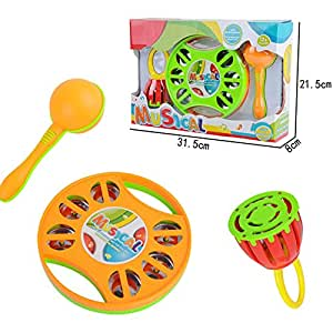 Dear Deer Set Of 3 Musical Light Up Interactive Toy Instruments For Toddlers - Clap Drum Tambourine Sand Hammer Handled Cage Bell