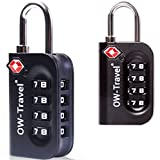 ✅ TITAN PICKPROOF 4-Dial TSA Approved Combination Padlock for Luggage Suitcases and Travel - Heavy Duty – By OW Travel – Flight Accessories for Suitcase, Baggage, Bag, Backpack, Rucksack, Gym Locker (2 Pack, Black)