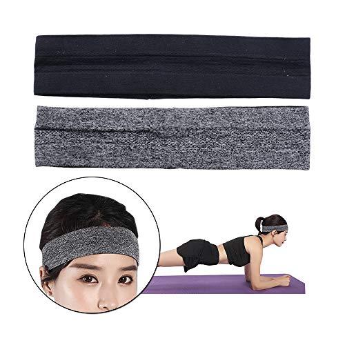 SERWOO 2 Stück Stirnband Damen Sport Kopfband Haarband Turban Elastische Weiche Stirnband für Alltag Yoga Sport Zuhause Lauf Jogging Fitness (Schwarz+Grau)