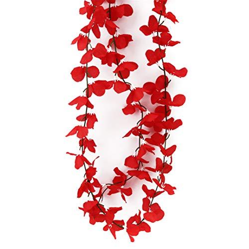 Garispace Künstliche Blume Reben Dekoration Event Hochzeit Blume Reben Anhänger Hochzeit Ornament für Hochzeit Party Supplies(rot)