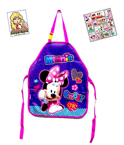 2 tlg. Minnie Maus Set - Bastelschürze/Kinderschürze/Malschürze/Kochschürze - Motiv: Minnie Mouse + 12 Minnie Mouse Sticker + Art Sticker Nr. 3
