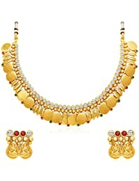 Sukkhi Modern Gold Plated Temple Jewellery Necklace Set For Women