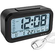 Despertador Digital, Arespark Reloj Despertador, Luz de Fondo LCD Reloj de La Mañana con Termómetro Calendario Pantalla Grande Luz de Noche Elegante Luz Suave Snooze, Con Batería Cargador USB (Negro)