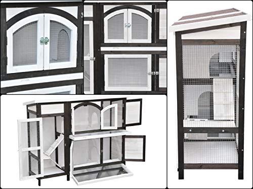 nanook Kaninchenstall, Hasenstall Jumbo XL mit seitlichen Aufgängen für mehr Platz – Wetterfest extragroß 138 x 48 x 109 cm braun/Weiss - 4