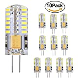 GVOREE 2W G4 LED Lampe Birne, 180LM, Ersatz für 20W Halogenlampen,12V AC / DC, 6000K Kaltweiss,360° Abstrahlwinkel, LED Birnen, LED Leuchtmittel, 10er Pack