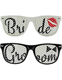 WOBBOX Bride And Groom Eyeglass Set - Wedding Supplies Favors Props Sunglasses - Great For Photo Booth And Wedding...