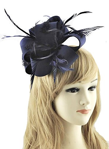 leahward herrlich Lovely Feather & Stampa Floreale Fascinator on Comb Fashion qualità Racing Festival Garden Party cwh00178 Marine S