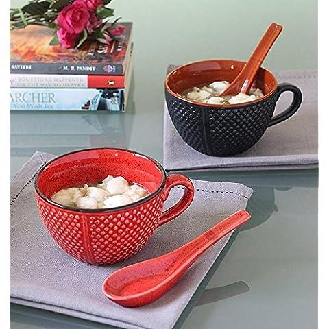 Store Indya, Gettato a mano della rotella studio di ceramica di ceramica Zuppa Mug Set di 2 con in rilievo con punto di serie