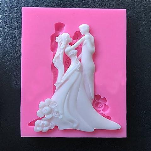 Maphissus mariée Moule à gâteau en silicone Moule à chocolat DIY Moule à gâteau outils 3d pour gâteau Pudding Chocolat pâtisserie outils de moules DIY fait à la main., Silicone, rose, Taille M
