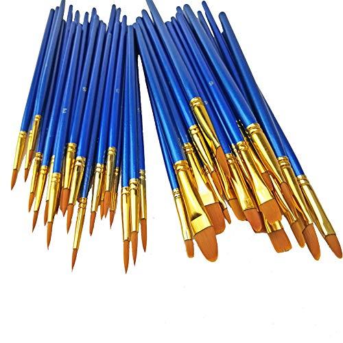 Soldmore7 Holz 50-teiliges Holzpinsel-Set - Malpinsel-Set für Acrylfarbe - Perfektes Bastelset für professionelle und Amateurprojekte(Blue)