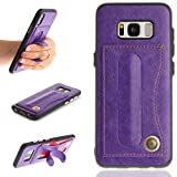 TAITOU Galaxy S7Edge Movie Stand Case, Automatically Deformed Hand Holder Kickstand Back Cover Card ID Slots New Soft PU Leather Light Phone Case For Samsung Galaxy S7 Edge Purple