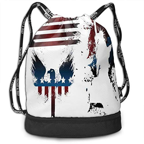 LULABE Printed Drawstring Backpacks Bags,Set with Bald Eagle Symbol and Stripes Stars Statue of Liberty Grunge Retro,Adjustable String Closure - Gator Statue