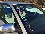 GTD Waben Volkswagen Aufkleber Frontscheibenaufkleber Oilslick Auto Hologramm Glitzer Autoaufkleber VAG Tuning Sticker Autoscene holographic