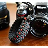 RUBRIC® Braided King Cobra Paracord Hand Grip Wrist Strap for All DSLR Camera/Binoculars (Black and Oange)