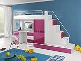 Furnistad Kinderzimmer Komplett Sun | Kinder Hochbett mit Treppe, Schreibtisch, Schrank und Gästebett (Option rechts, Weiß + Rosa)