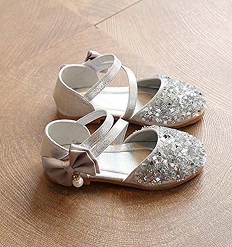 NiSeng Filles Paillettes Plat Chaussure Mode Princess Chaussure Fête Chaussure Argent