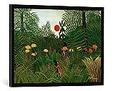 Gerahmtes Bild von Henri J.F. Rousseau Forêt vierge au soleil couchant. Nègre attaqué par un léopard, Kunstdruck im hochwertigen handgefertigten Bilder-Rahmen, 80x60 cm, Schwarz matt