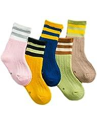 XIU*RONG Children'S Cotton Socks, 3-5-7-8-9-12 Años Niños, Niñas, Niñas, Engrosamiento, Socks Socks En El Tubo Medio,6-8 Años Pie Longitud 16-18Cm,5 Pares De Calcetines