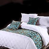 Yazi lusso letto runner da letto accessori coperte per hotel decorazione foglia modello 48,3x 208,3cm