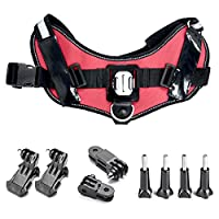 Greleaves Adjustable Pet Dog Chest Harness for Gopro Hero 5 4 3+ 3 2 1 Heavy Duty Reflective Dog Harness with Safety Features,Specially Designed