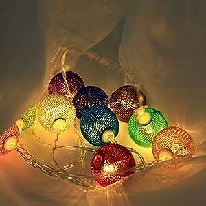 1.5M 10er LED Rattankugel Lichterkette aus Kupferdraht, Dapei Warmweiß Stimmungslichter Batteriebetriebene DIY String Licht, ideal für Zimmer, Innen, Weihnachten, Außen, Party, Hochzeit, DIY usw