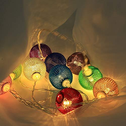 Prevently 1.5m/10LED Weihnachtskugel Lichter LED String Lichter Batteriebetriebene Außenbeleuchtung für Garten, Party, Hochzeit, Weihnachten
