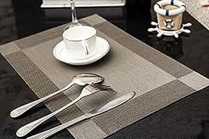Set de table Plastifié gris diagonale PVC Placemats Dining Table Sets Clest F&H Résistant à la Chaleur (Set of 2 pcs)