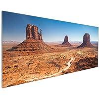 Monument Valley Abend I Wallario Herdabdeckplatte 1-teilig aus Glas 80x52cm