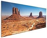 Wallario Küchenrückwand aus Glas, in Premium Qualität, Motiv: Monument Valley unter Blauem Himmel   Spritzschutz   abwischbar   Pflegeleicht