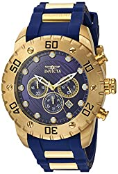 Invicta Mens Pro Diver Quartz Stainless Steel and Polyurethane Casual Watch, Color:Blue (Model: 20280)