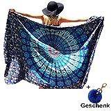 Ularma 148cmX210cm Strandtuch Blumen Aufdruck Reisetuch Polyester Mehrfunktional Handtuch Bikini Überwurf Rechteckig Decke (blau)