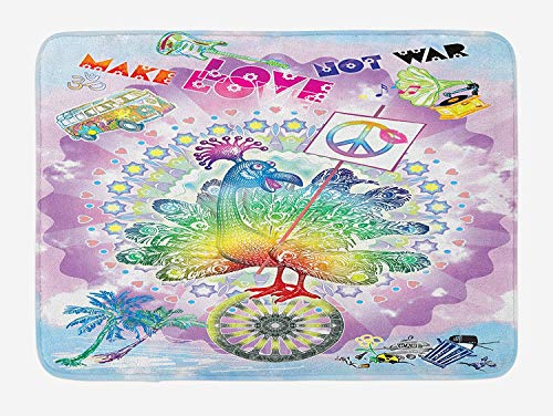 OQUYCZ Hippie Bath Mat, Funny Peacock with Make Love Not War Quote Hippie Flower Children Peace Theme, Plush Bathroom Decor Mat with Non Slip Backing, 23.6 W X 15.7 W Inches, Multicolor