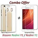 YuniKase Sleek Premium Transparent Clear Soft Back Case With Tempered Glass Screen Protector For Mi Y1 (Transparent)