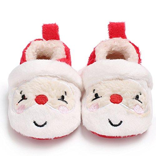 OULII Scarpine Pantofole primi passi bambino ciabatte invernali Scarpe natalizie con Babbo Natale 13cm