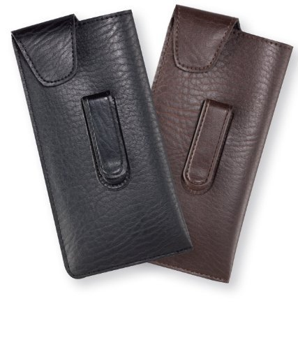 Large Designer Soft Eyeglass Case ; Durango Metal Clip in Brown by Calabria