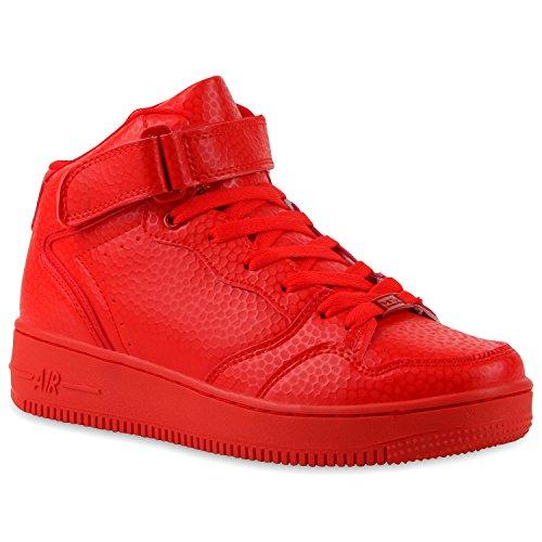Damen Herren Cultz Basketballschuhe Sportschuhe Sneakers Rot Brooklyn