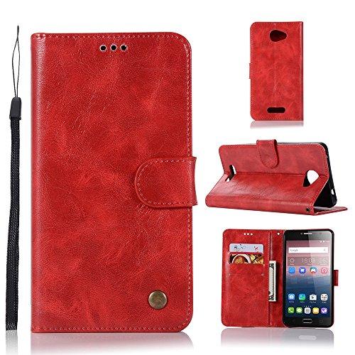kelman Hülle für Alcatel One Touch Pop 4s Hülle Schutzhülle PU Leder + Soft Silikon TPU Innere Schale Brieftasche Flip Handyhülle - [JX05/Rot]