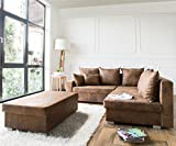 DELIFE Couch Lavello Braun 210x210 Ottomane Rechts Hocker Antik Optik Ecksofa