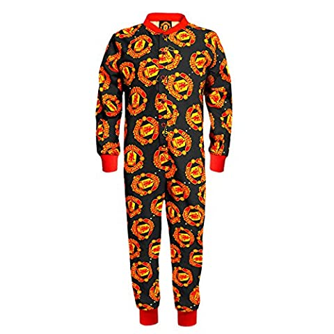 Manchester United FC Official Gift Boys Kids Pyjama Onesie Black 7-8 Years