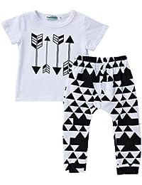 Covermason Bebé Unisex Flecha Impresión Camiseta y largo Pantalón (2PCS)