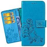 Ougger Hülle für Xiaomi Redmi Note 7 Schutzhülle Leder Tasche Glückliche Blätter Beutel Brieftasche Weich Magnetisch Silikon TPU Cover Schale Handyhülle Redmi Note 7 mit Kartensteckplatz (Blau)
