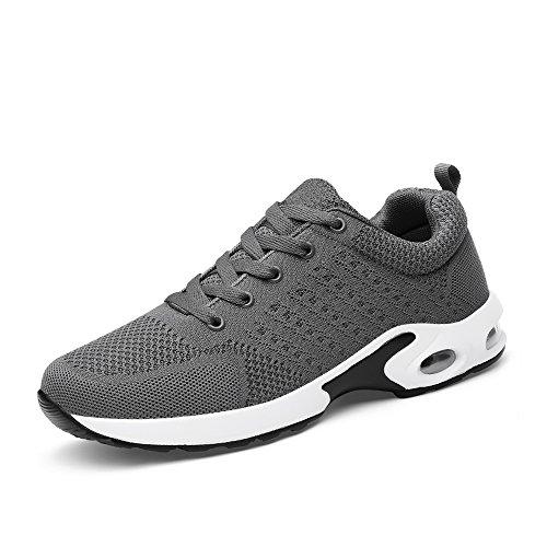 kashiwu, scarpe da ginnastica, unisex, adatte per jogging, palestra e fitness, leggere e con sistema di assorbimento degli urti gray-3