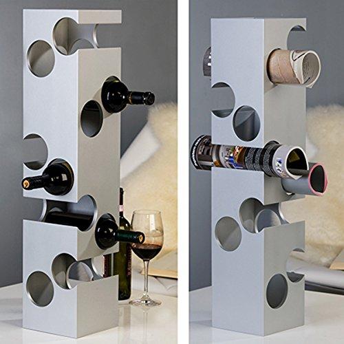 Weinregal Corner 10Flaschen silber MDF Flaschenregal Weinständer Holzregal Regal