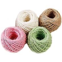 Zooma confezione da 4corda di iuta spago stringa per fiorai DIY Arts Crafts, decorazione per matrimoni e giardino 196feet