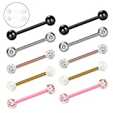 Zolure 14G 12 Stücke Kristallkugel Nipplerings Barbell Piercing Zungenpiercing Schmuck