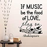 Qbbes If Music Be The Food Of Love Saying Wall Sticker For Living Room Musical NotesDiy Wall Art Decals Home Decoration 40X60Cm