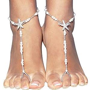 Neue Kristall Perle Seestern Fußkettchen Knöchel Kette Boho Stil Sommer Strand Hochzeit Sandale Barfuß Fuß Schmuck Deko