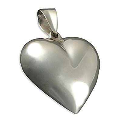 Extra large puffed heart sterling silver pendant on 16 inch extra large puffed heart sterling silver pendant on 16quot inch chain ideal heart mozeypictures Choice Image