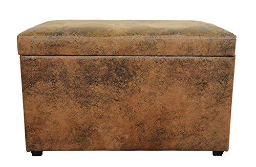 Avanti trendstore - miguel - pouf contenitore in stile vintage, cassapanca in ecopelle trapuntata di colore marrone e rivestita in microfibra nera nell'interno, dimensioni: lap 65x42x40 cm