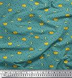 Soimoi Blau Poly Georgette Stoff Dreieck & Banane Obst
